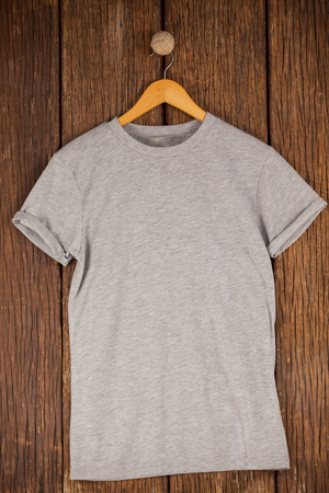 wood panelling: Grey t-shirt on hanger on wood panelling