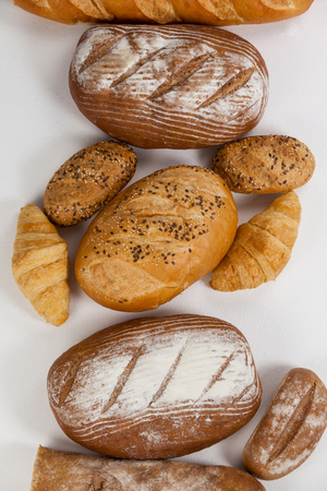 loaves: Various bread loaves on white background