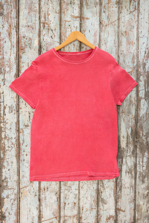 wood panelling: Pink t-shirt on hanger against wood panelling Stock Photo