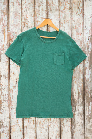 wood paneling: Green t-shirt with pocket on hanger against wood paneling