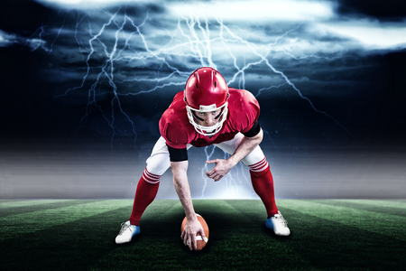 American football player starting football game against stormy dark sky with lightning bolts with copy space 3d
