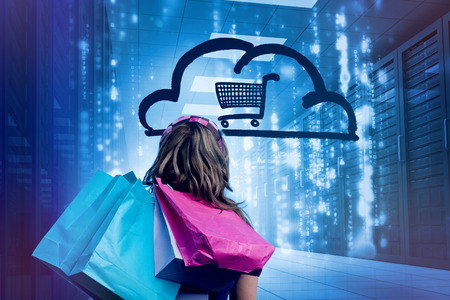 Woman in a data center holding shopping bags and looking at a drawing with a shopping cart into a cloud 3d