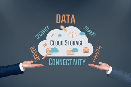 fishtank: Hand presenting against cloud computing