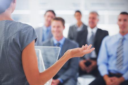 misunderstanding: Rear view of Business woman misunderstanding Stock Photo