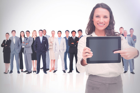 Woman showing a screen against a white background 3d photo