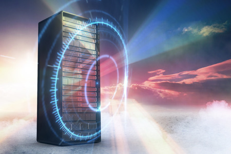 Server Tower against red vortex with orange light 3d Stock Photo