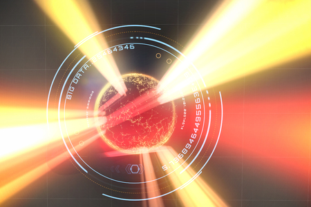 up code: Digital image of globe with big data text against red vortex with orange light 3d