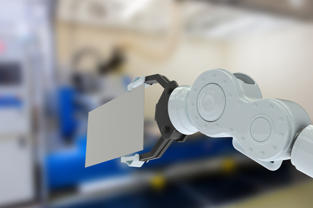 hydraulics: Closeup of hydraulics arm holding placard against factory 3d Stock Photo