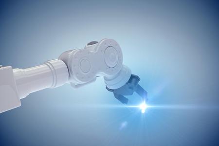 mano robotica: Closeup of metal claw of robotic hand against grey vignette 3d