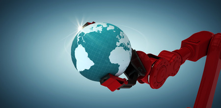 Cropped image of red robotic claw holding blue planet against grey vignette 3d Stock Photo