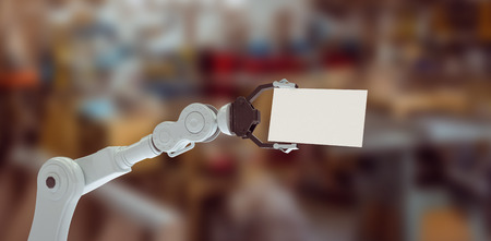 robo: Hydraulics arm holding placard against machinery and tables 3d