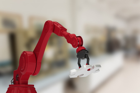 mano robotica: Red robotic hand with jigsaw puzzle against factory 3d