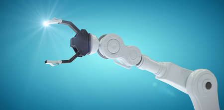 mano robotica: Digital image of metallic claw of robotic hand against blue vignette background 3d Foto de archivo