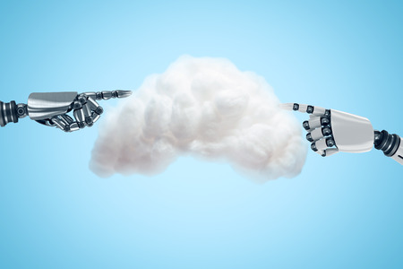display machine: Digitally generated image of cloud against robotic arm pointing Stock Photo
