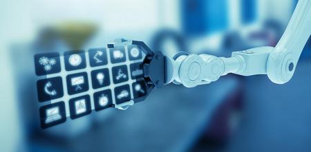 robo: Iconos de aplicaciones de teléfono inteligente contra la estación de trabajo vacía 3d