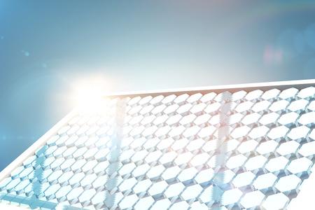 Solar panel with hexagon shape glasses against grey vignette 3d