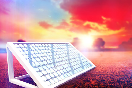 concentrate: Solar panel hexagon shape with stand against countryside scene 3d