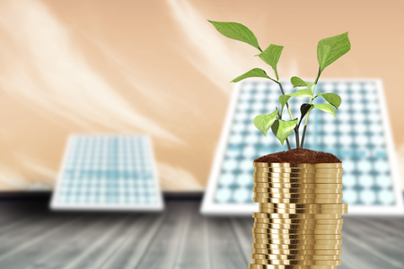 Digital image of stack of gold coins and plant against blue sky 3d
