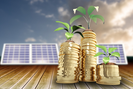 Low angle view of plants on piles of gold coins against cloudy sky 3d