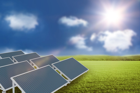 Digitally generated image of solar panel against sunny green landscape 3d Stock Photo