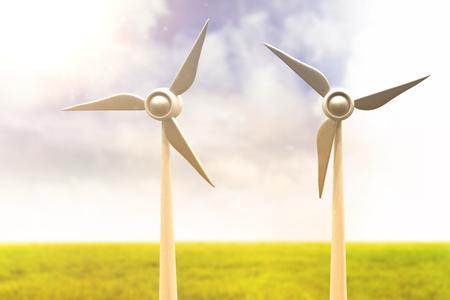 Illustration of wind mills against blue sky over green field 3d