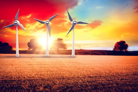 Illustration of wind mills against countryside scene 3d
