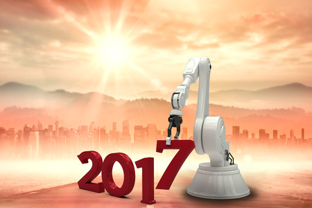 digitally generated image: Digitally generated image of robotic hand holding red number against sun shining over road and city