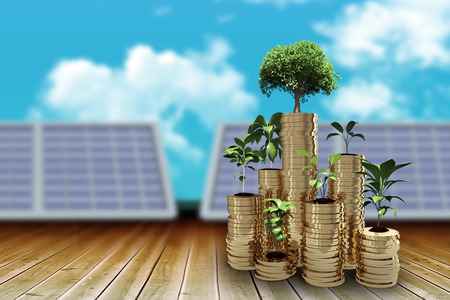 space station: Trees and plants on arrangement of gold coins against blue sky 3d