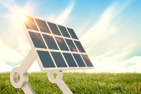 Sources of renewable energy equipment against blue sky over green field 3d Stock Photo