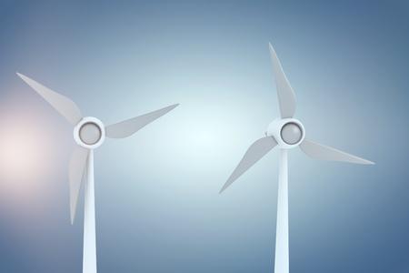 digitally generated image: Digitally generated image of wind turbines against purple vignette 3d