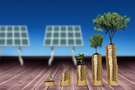 space station: Tree and plant over gold coins against blue sky 3d Stock Photo
