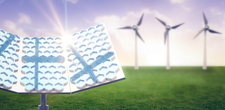 Modern solar panel with hexagon shape against sunset with clouds 3d Stock Photo