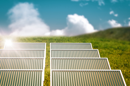 Illustration of solar panel against white screen against grass and sky 3d