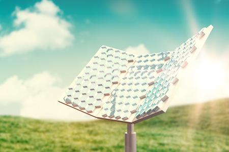 Hexagon shaped solar equipment against blue sky over green field 3d Stock Photo
