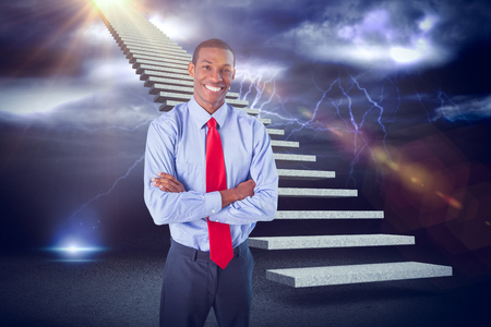 Elegant smiling Afro businessman standing in office against lightning with clouds 3d