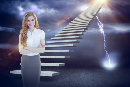 Portrait of an elegant businesswoman in office against lightning strikes on landscape 3d Stock Photo