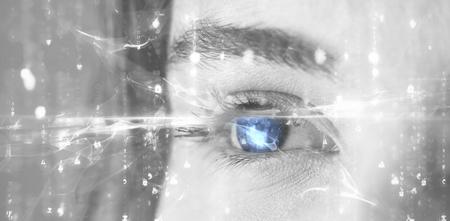 beautiful eye: Digitally generated image of abstract pattern against beautiful eye of  woman
