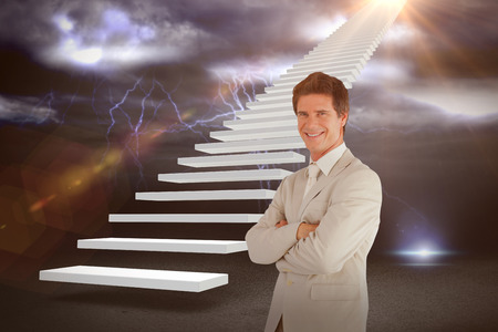 Confident businessman standing at the camera against lightning with clouds 3d Stock Photo