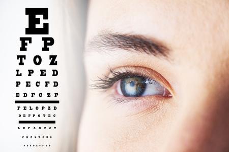 sense of sight: eye test against beautiful eye of  woman