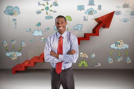 Elegant smiling Afro businessman standing in office against digital composite image of red steps moving up