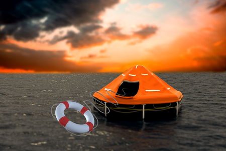wading: Composite image of life belt with rope against orange and blue sky with clouds 3d
