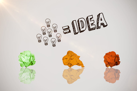 Digitally composite image of pink crumpled paper against idea and innovation graphic Stock Photo