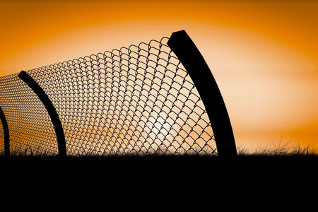 Chainlink fence by white background  against sunrise 3d