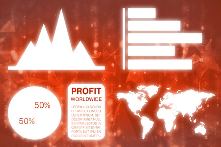 against abstract: Graphic image of business presentation with charts and map against abstract background