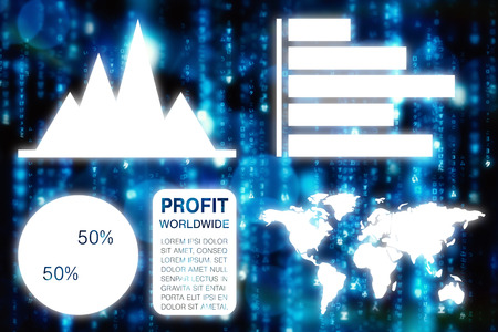 digitally generated image: Graphic image of business presentation with charts and map against digitally generated black and blue matrix