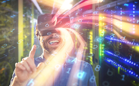 View of data technology against male business executive using virtual reality headset