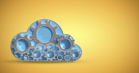 computing machine: Digitally generated image of gear in cloud shape against yellow vignette