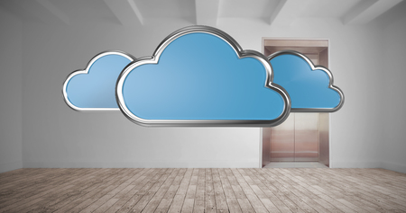 Cloud shapes on white background against room with elevator 3d