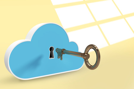 Blue locker in cloud shape with key against white squares on yellow background 3d