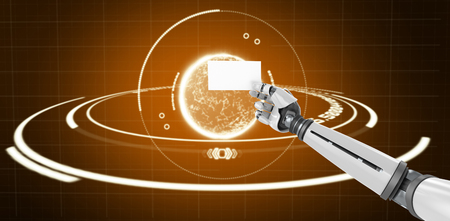 Computer graphic image of white robotic arm holding placard against orange background with vignette 3d Stock Photo